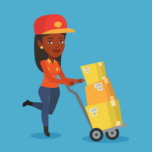 An african delivery postman with cardboard boxes on trolley. Delivery postman pushing trolley with cardboard boxes. Delivery postman delivering parcels. Vector flat design illustration. Square layout.