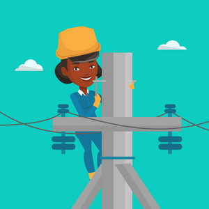 An african electrician in hard hat working on electric power pole. Electrician at work on electric power pole. Electrician repairing electric power pole. Vector flat design illustration. Square layout