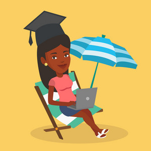 An african graduate lying in chaise longue. Graduate in graduation cap working on laptop. Graduate studying on a beach. Concept of online education. Vector flat design illustration. Square layout.
