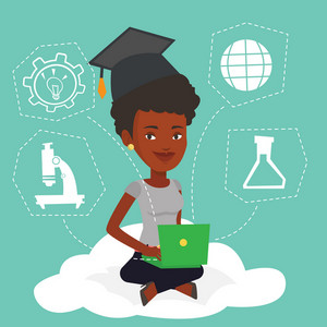 An african graduate sitting on cloud with laptop. Graduate using cloud computing technologies. Concept of educational technology and cloud computing. Vector flat design illustration. Square layout.