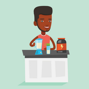 An african sportsman making protein shake using blender. Man preparing protein cocktail of bodybuilding food supplements. Man cooking protein cocktail. Vector flat design illustration. Square layout.