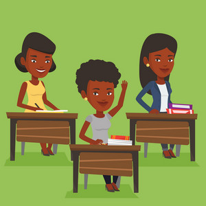 An african student raising hand in the classroom for an answer. Student sitting at the desk with raised hand. Clever student raising her hand at lesson. Vector flat design illustration. Square layout.