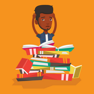An african student sitting in huge pile of books. Exhausted student preparing for exam with books. Stressed student reading books. Concept of education. Vector flat design illustration. Square layout.
