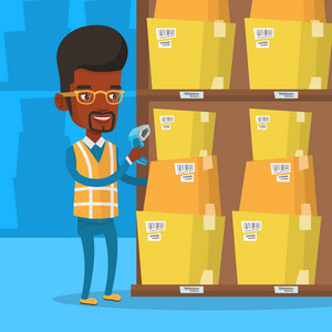 An african warehouse worker scanning barcode on box. Warehouse worker checking barcode of boxes with a scanner. Warehouse worker working with a scanner. Vector flat design illustration. Square layout.