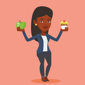 An african woman holding apple and cupcake in hands. Woman choosing between apple and cupcake. Concept of choice between healthy and unhealthy nutrition. Vector flat design illustration. Square layout