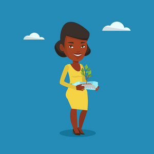 An african woman holding in hands plastic bottle with plant growing inside. Woman holding plastic bottle used as plant pot. Plastic recycling concept. Vector flat design illustration. Square layout.