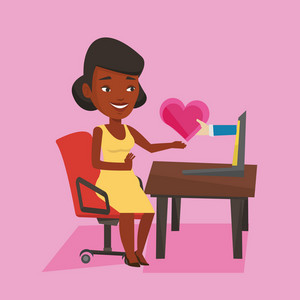 An african woman looking for online date on the internet. Woman using laptop and dating online. Woman dating online and getting virtual love message. Vector flat design illustration. Square layout.