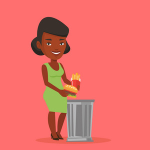 An african woman putting junk food into a trash bin. Woman refusing to eat junk food. Woman rejecting junk food. Diet concept. Vector flat design illustration. Square layout.
