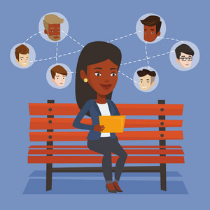 An african woman sitting on bench and using tablet computer with network avatar icons above. Woman surfing in the social network. Social network concept. Vector flat design illustration. Square layout