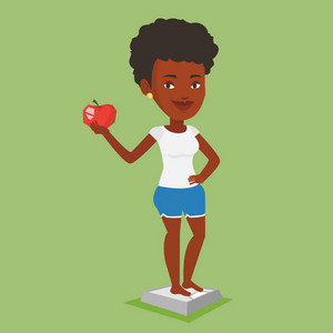 An african woman with apple in hand weighing after diet. Woman satisfied with result of her diet. Woman on a diet. Dieting and healthy lifestyle concept. Vector flat design illustration. Square layout