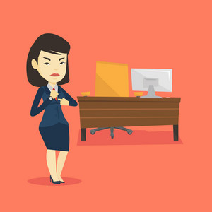 An angry employer pointing at time on wrist watch. Asian employer checking time of coming of her latecomer employee. Concept of late to work. Vector flat design illustration. Square layout.
