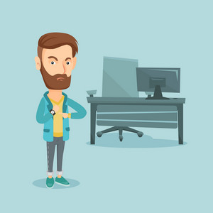 An angry hipster employer pointing at time on wrist watch. Caucasian employer checking time of coming of latecomer employee. Concept of late to work. Vector flat design illustration. Square layout.