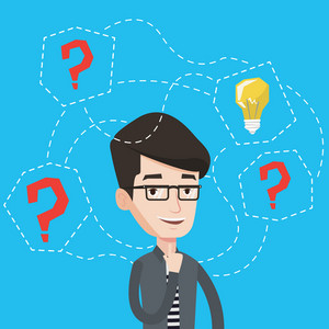 An excited young man having a business idea. Cheerful businessman standing with question marks and light bulb above his head. Business idea concept. Vector flat design illustration. Square layout.