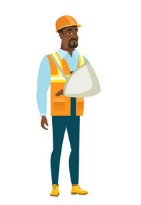 An injured african-american builder wearing an arm brace. Young builder with broken arm in sling. Full length of builder with broken arm. Vector flat design illustration isolated on white background.