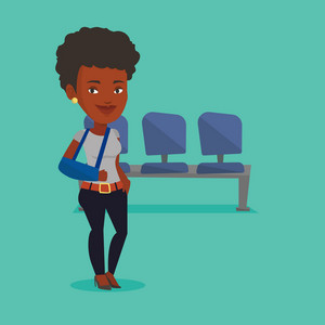 An injured african-american woman wearing an arm brace. Young woman standing with her broken right arm. Cheerful woman with broken arm in a cast. Vector flat design illustration. Square layout.