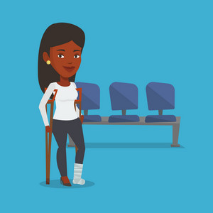 An injured african-american woman with leg in plaster. Young woman with broken leg using crutches. Smiling woman with fractured leg. Vector flat design illustration. Square layout.