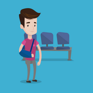An injured man wearing an arm brace. Young smiling man with his broken right arm standing in the hospital corridor. Vector flat design illustration isolated on blue background. Square layout.