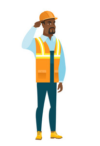 Angry african-american builder gesturing with his finger against temple. Full length of young builder twisting his finger against temple. Vector flat design illustration isolated on white background.