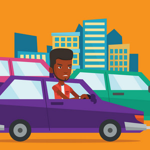 Angry african-american car driver stuck in a traffic jam. Irritated young man driving a car in a traffic jam. Agressive driver honking in traffic jam. Vector flat design illustration. Square layout.