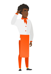 Angry african-american chef cook gesturing with his finger against his temple. Full length of chef cook twisting his finger against temple. Vector flat design illustration isolated on white background