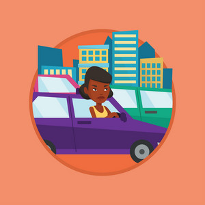 Angry car driver stuck in a traffic jam. Irritated woman driving a car in a traffic jam. Agressive driver honking in traffic jam. Vector flat design illustration in the circle isolated on background.