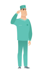 Angry caucasian doctor gesturing with his finger against his temple. Full length of doctor in uniform twisting his finger against temple. Vector flat design illustration isolated on white background.