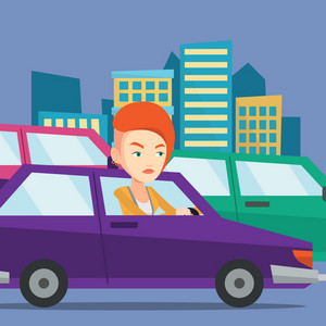 Angry caucasian female car driver stuck in a traffic jam. Irritated young woman driving a car in a traffic jam. Agressive driver honking in traffic jam. Vector flat design illustration. Square layout.