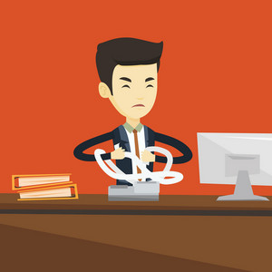 Annoyed asian business man sitting in office and tearing furiously bills. Young angry businessman calculating bills. Angry businessman tearing invoices. Vector flat design illustration. Square layout.