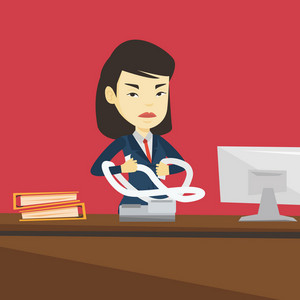 Annoyed asian business woman sitting in office and tearing furiously bills. Angry businesswoman calculating bills. Angry businesswoman tearing invoices. Vector flat design illustration. Square layout.