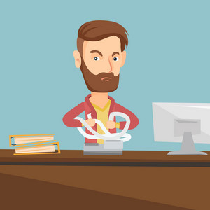 Annoyed caucasian business man sitting in office and tearing furiously bills. Young angry hipster business man with the beard calculating bills. Vector flat design illustration. Square layout.
