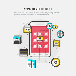 Apps Development concept with Smartphone showing more applications and programmes.