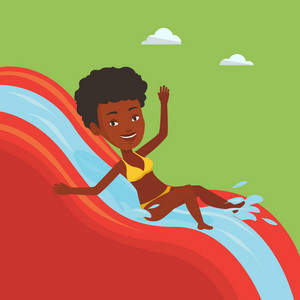Arican-american woman riding down a water slide at the aquapark. Happy woman having fun on a water slide in waterpark. Girl going down a water slide. Vector flat design illustration. Square layout.