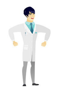 Asian angry doctor in medical gown screaming. Full length of angry doctor clenching fists. Young angry doctor shouting with raised fists. Vector flat design illustration isolated on white background.