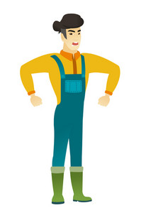 Asian angry farmer in coveralls screaming. Full length of angry farmer clenching fists. Young angry farmer shouting with raised fists. Vector flat design illustration isolated on white background.