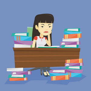 Asian annoyed student studying hard before the exam. Young angry student studying with textbooks. Bored student studying in the library. Vector flat design illustration. Square layout.