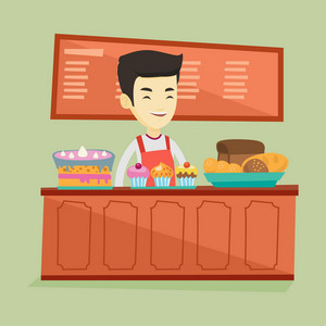 Asian bakery worker offering pastry. Smiling bakery worker standing behind the counter with cakes. Young smiling man working at the bakery. Vector flat design illustration. Square layout.
