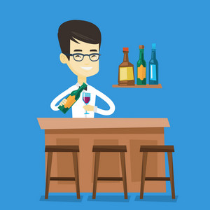 Asian bartender at work. Adult bartender standing at the bar counter. Bartender with bottle and glass in hands. Bartender pouring wine in a glass. Vector flat design illustration. Square layout.