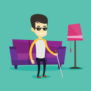 Asian blind man standing with walking stick at home. Young smiling blind man in dark glasses standing with cane at home. Blind man walking with stick. Vector flat design illustration. Square layout.
