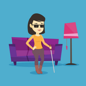 Asian blind woman standing with walking stick at home. Young blind woman in dark glasses standing with cane at home. Blind woman walking with stick. Vector flat design illustration. Square layout.