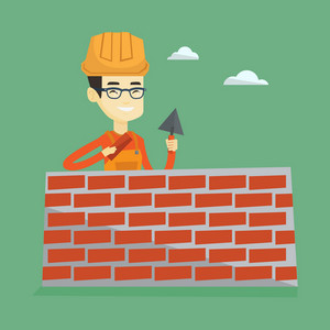 Asian bricklayer in uniform and hard hat. Young bicklayer working with spatula and brick on construction site. Happy bicklayer building brick wall. Vector flat design illustration. Square layout.