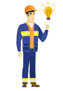 Asian builder in hard hat pointing at bright idea light bulb. Full length of builder having a creative idea. Successful idea concept. Vector flat design illustration isolated on white background.