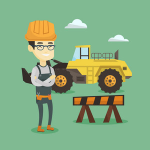 Asian builder standing on the background of construction site or road works. Young builder standing with arms crossed. Confident builder in hard hat. Vector flat design illustration. Square layout.