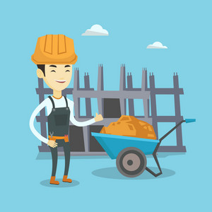 Asian builder with thumb up standing near wheelbarrow full of sand. Young builder in hard hat giving thumb up. Builder at work on construction site. Vector flat design illustration. Square layout.