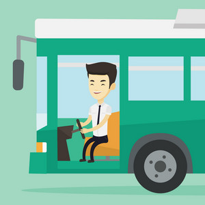 Asian bus driver sitting at steering wheel. Young driver driving passenger bus. Bus driver sitting in drivers seat in cab. Vector flat design illustration. Square layout.