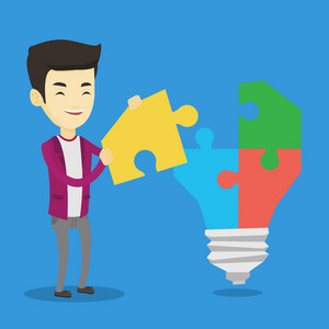 Asian business man completing idea light bulb made of puzzle. Business man inserts the missing puzzle in the idea light bulb. Business idea concept. Vector flat design illustration. Square layout.