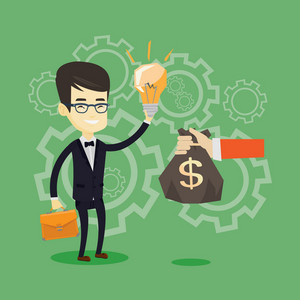Asian business man exchanging his business idea light bulb to money bag. Businessman selling his business idea. Concept of successful business idea. Vector flat design illustration. Square layout.