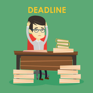 Asian business man having problem with deadline. Stressed business man sitting at workplace and clutching his head because of missed deadline. Vector flat design illustration. Square layout.