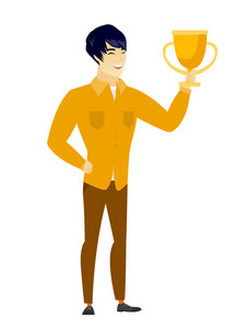 Asian business man holding a golden trophy. Full length of young business man with trophy. Happy business man celebrating with trophy. Vector flat design illustration isolated on white background.