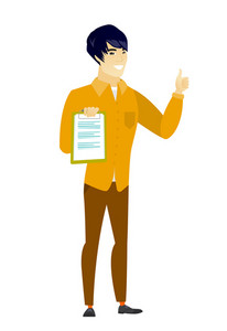 Asian business man holding clipboard and giving thumb up. Full length of business man with clipboard. Business man showing clipboard. Vector flat design illustration isolated on white background.
