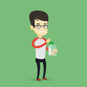 Asian business man holding glass jar. Smiling business man saving money banknotes in glass jar. Cheerful business man putting money into glass jar. Vector flat design illustration. Square layout.